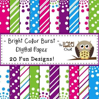 Digital Papers: Bright Color Burst