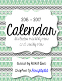 Mint & Tribal Design 2016-2017 Calendar {Month Across 2 Pa