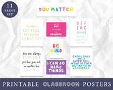 Bright Color Classroom Decor, Growth Mindset Posters