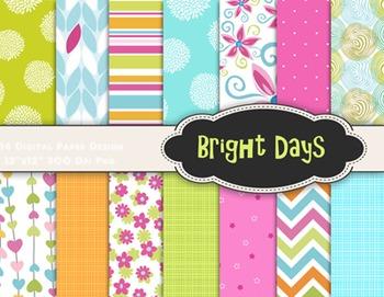 Bright Color Digital Paper Flower Scrapbook Paper Summer Blue Pink Green Orange