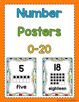 Math dollar deals - Back to school Bright Color Number Posters 0-20 (math menu)