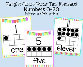 Bright Color Pops Ten Frame Posters