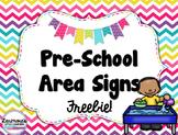 Bright Color Pre-School, Pre-K, Kindergarten Area Signs FREEBIE