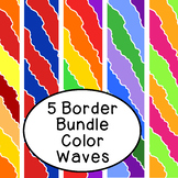Bright Color Waves Bulletin Board Border Printable Bundle Pack of 5