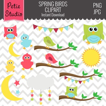 Spring Birds Clipart // Owls on Tree Branches // Bunting Clipart - Animals 101
