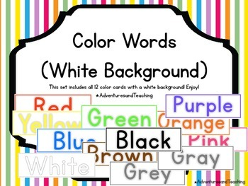 Bright Color Word Cards {White Background}
