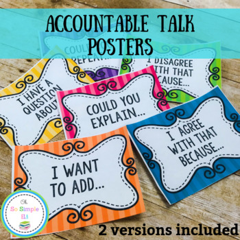 Bright Colored Accountable Talk Posters