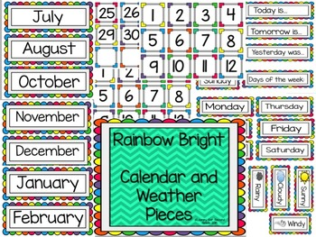 Bright Colored Calendar and Weather Pieces