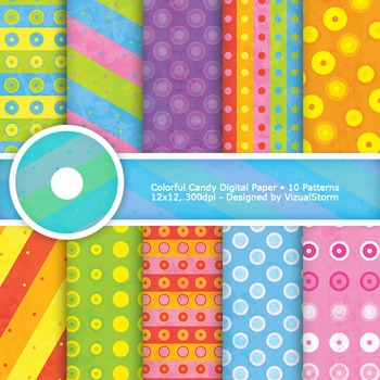 Colorful Candy Digital Paper, 10 Printable Stripes and Polkadot Patterns