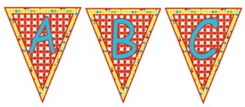 Bright Colored Circles Capital Letters - Pennants