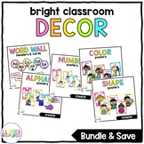 Bright Colored Classroom Décor Bundle in Spanish