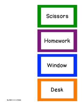 Classroom Labels - English Bright Colored