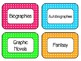 Bright Colored Classroom Library Labels
