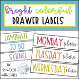 Bright Colored Drawer Labels + Editable