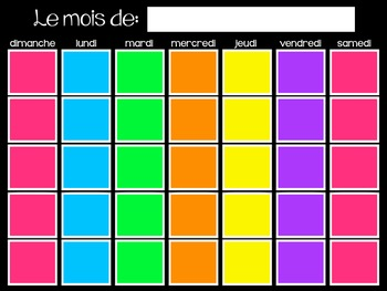 Bright Colored French Calendar