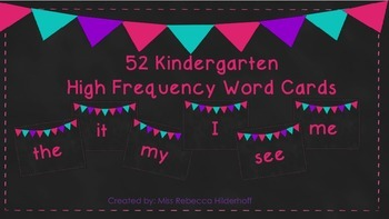 Bright Colored Kindergarten High Frequency Word Cards