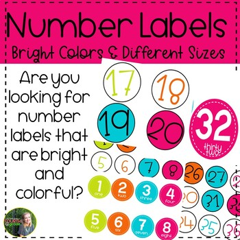 Bright Colored Number Labels- 3 sizes