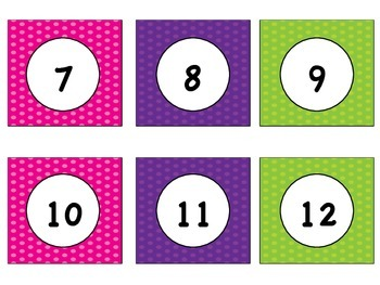 Bright Colored Number cards from 1-100