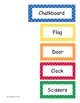 Classroom Labels - English Bright Colored Polka Dot