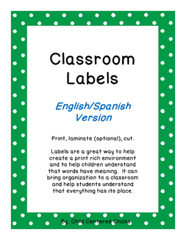 Classroom Labels - English/Spanish Bright Colored Polka Dot