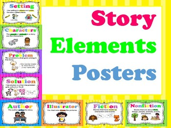 Bright Colored Story Element Posters