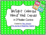Bright Colored Word Wall Cards in D'Nealian Cursive