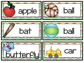 Bright & Colorful Chevron Word Wall Headers