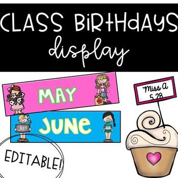 Bright & Colorful Class Birthdays!- Editable