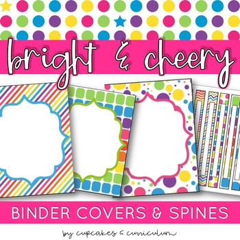Classroom Decor: Bright and Cheery [Editable Binder Covers