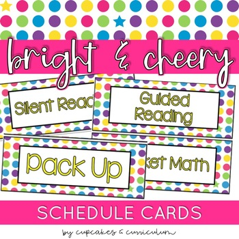 Classroom Decor: Bright and Cheery [Editable Schedule Cards]