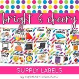 Classroom Decor: Bright and Cheery [Editable School Supple Labels]