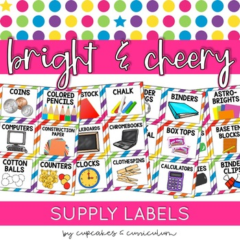 Classroom Decor: Bright and Cheery [Editable School Supple Labels]