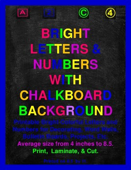 Bright Colorful Letters & Numbers With Chalkboard Background Bundle