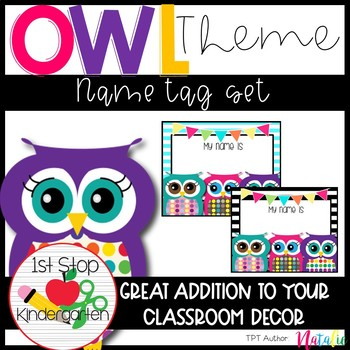 Bright & Colorful Polka-Dot & Stripe Owl Name Tags