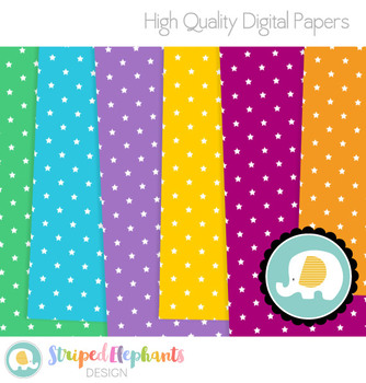 Bright Colorful Stars Digital Papers