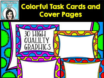 Colorful Task Cards and Cover Pages Clip Art Set