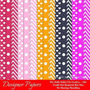Bright Colors 1 Patterns Digital Papers A4 size