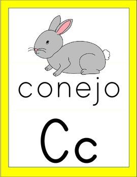 Bright Colors Alphabet Cards - Spanish