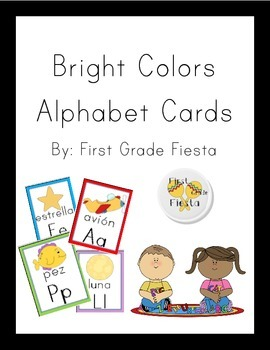 Bright Colors Alphabet Cards - Spanish