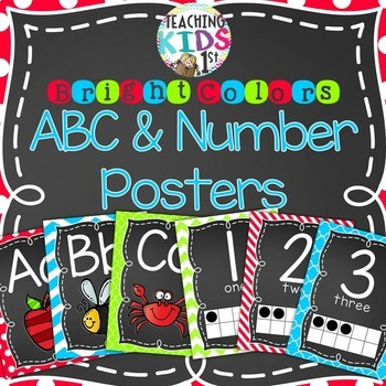 {BRIGHT COLORS} Alphabet and Number Posters Bundle