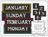 Bright Colors Chalkboard Type Calendar Set