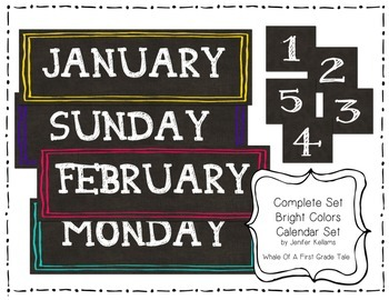 Bright Colors Chalkboard Type Calendar Set