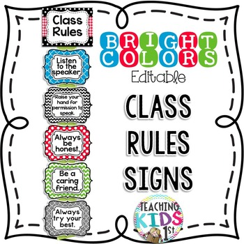 {BRIGHT COLORS} Class Rules
