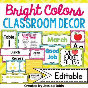 Classroom Decor- Bright Colors Classroom Themed Decor
