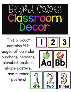 Bright Colors Classroom Decor Pack!