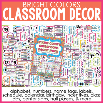 Bright Colors Classroom Decor Pack - 130+ Pages