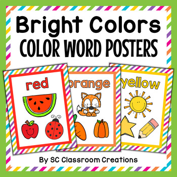 Bright Colors Color Posters- Classroom Decor