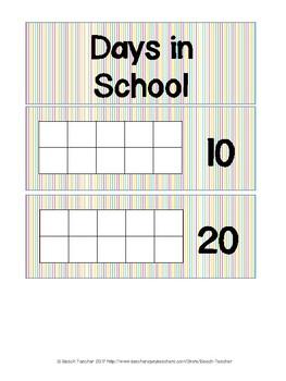 Bright Colors Days in School Sticker Chart