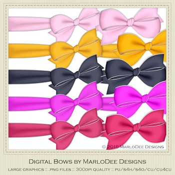 Bright Colors Digital Bow Graphics package 1