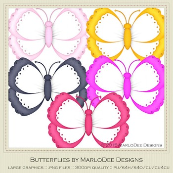 Bright Colors Digital Butterfly Graphics